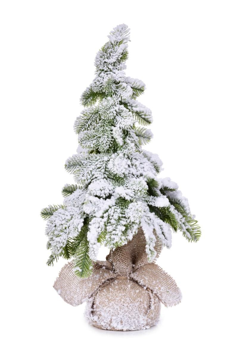 60 cm Zasněžený stromek na dřevěném kmínku, stojící dekorace