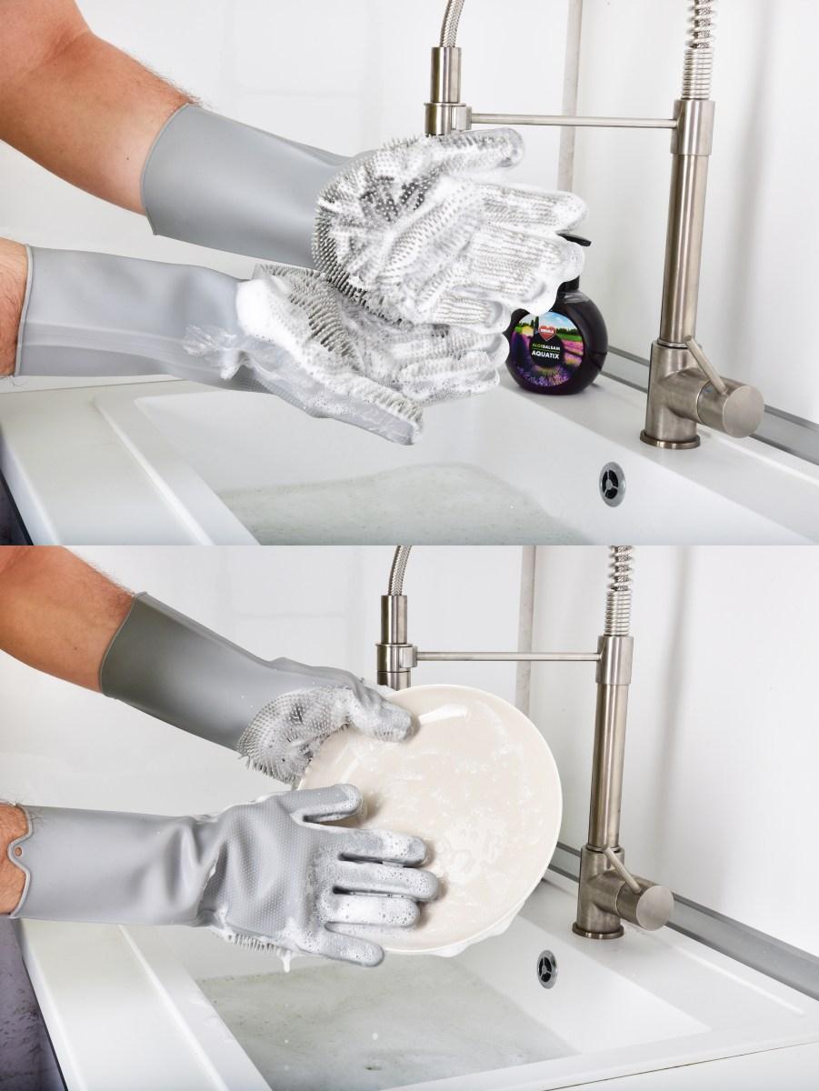 2 KS SILISASANKA, silikonová rukavice, na mytí povrchů