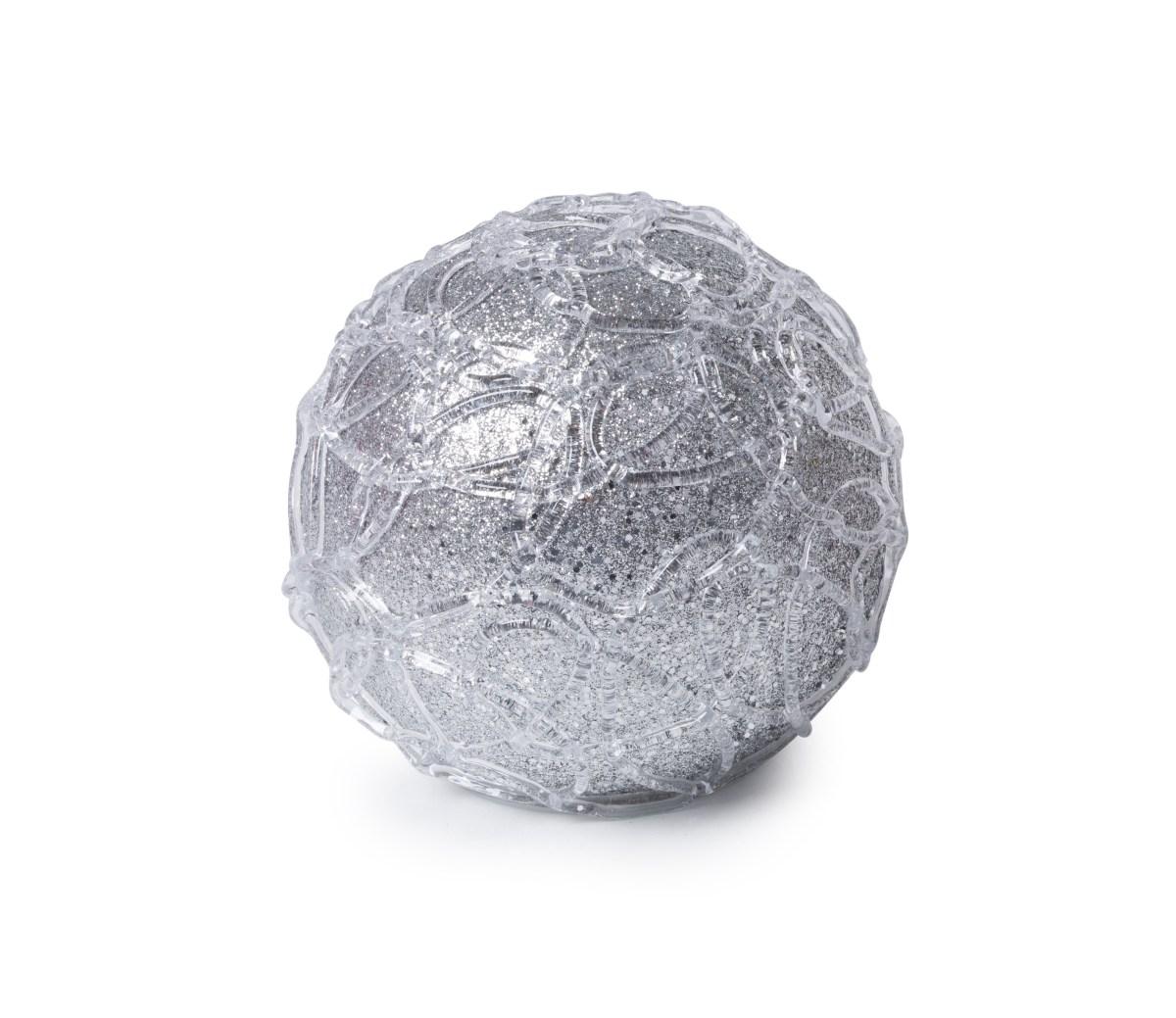 15 cm XL světelná LED koule, s ornamenty a třpytivým finišem
