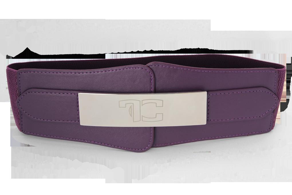 Široký pásek do pasu z ekokůže, fialový