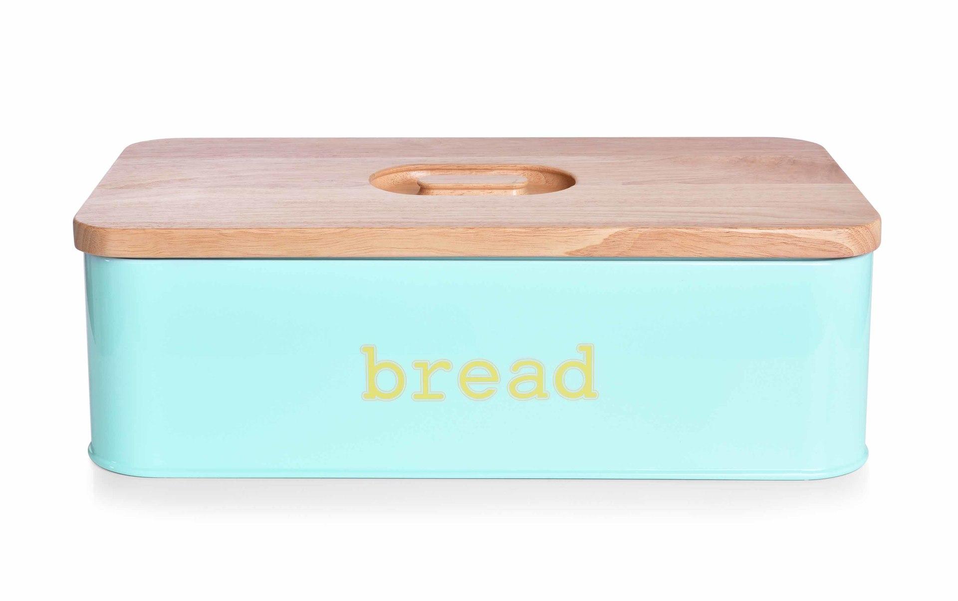 Chlebník BREAD mintový, kovový s krájecím víkem z masivního dřeva