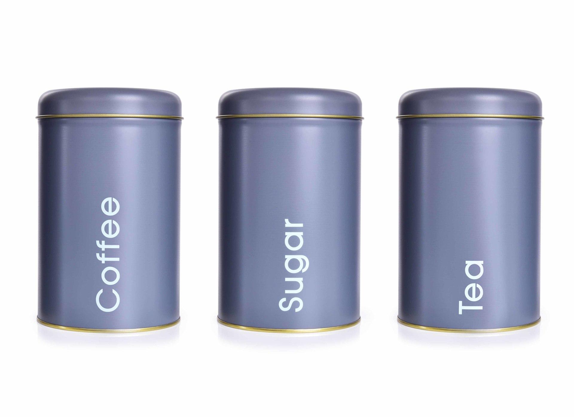 3 KS SADA kovových kulatých dóz, Tea, Sugar, Coffee