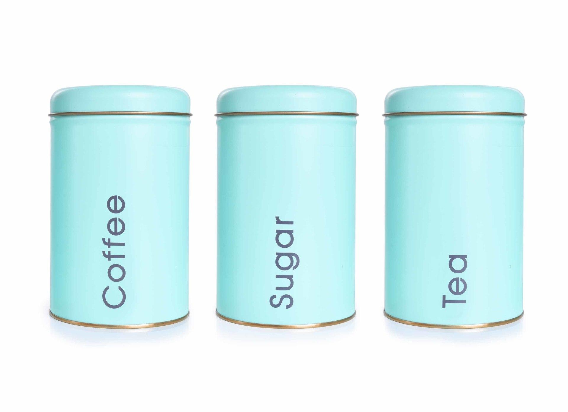 3 KS SADA kovových okrúhlych dóz Tea, Sugar, Coffee - mintové