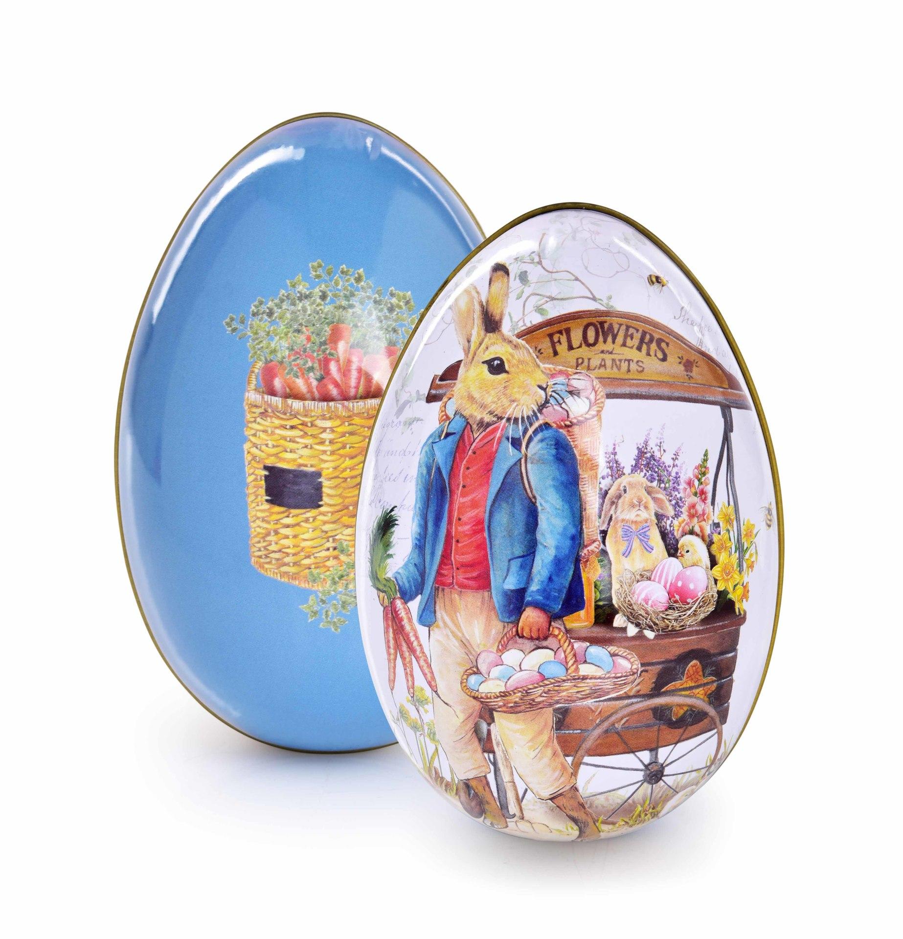 12 cm velké vejce na překvapení pro koledníky, kovové, modré