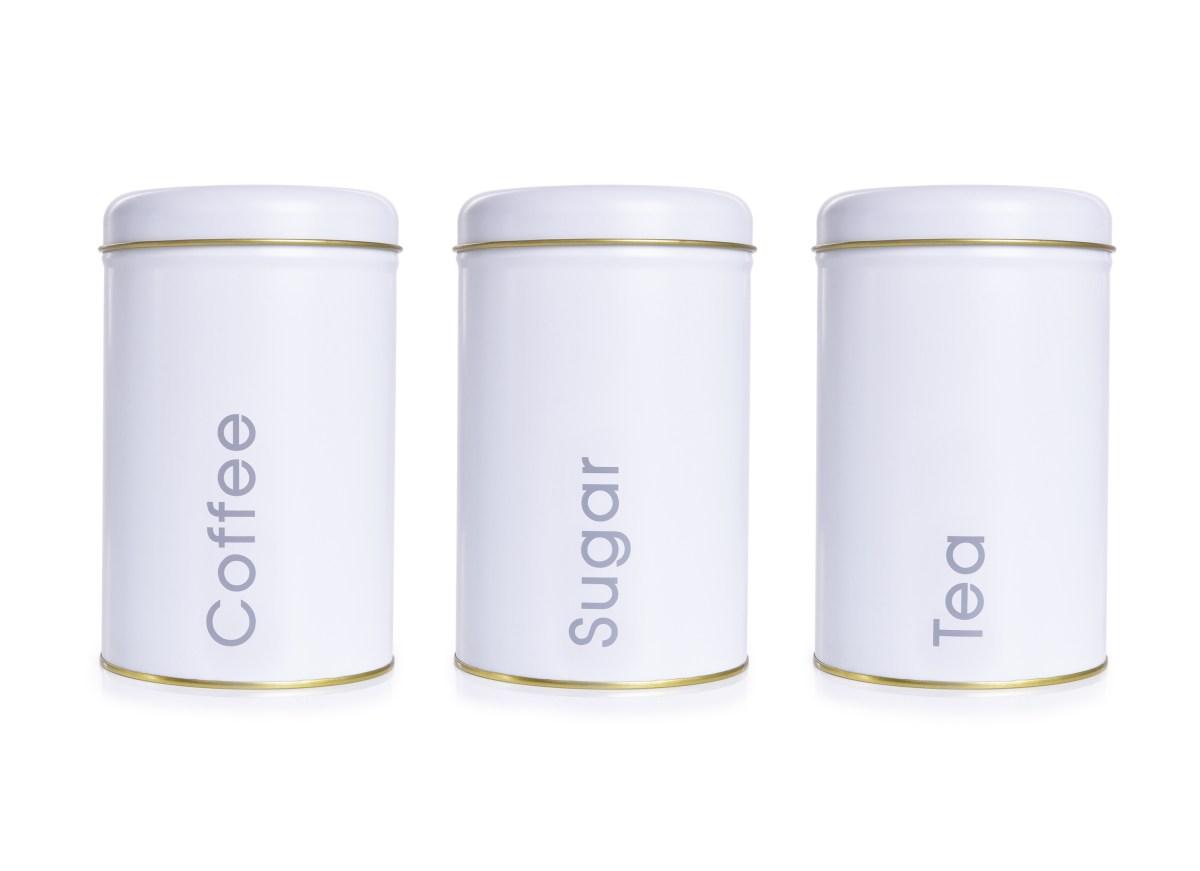3 KS SADA kovových okrúhlych dóz Tea, Sugar, Coffee - biele