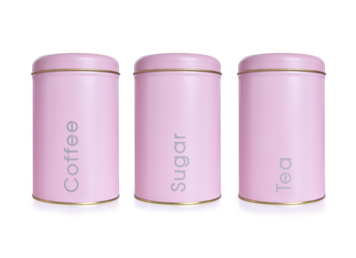 3 KS SADA kovových okrúhlych dóz Tea, Sugar, Coffee - ružové