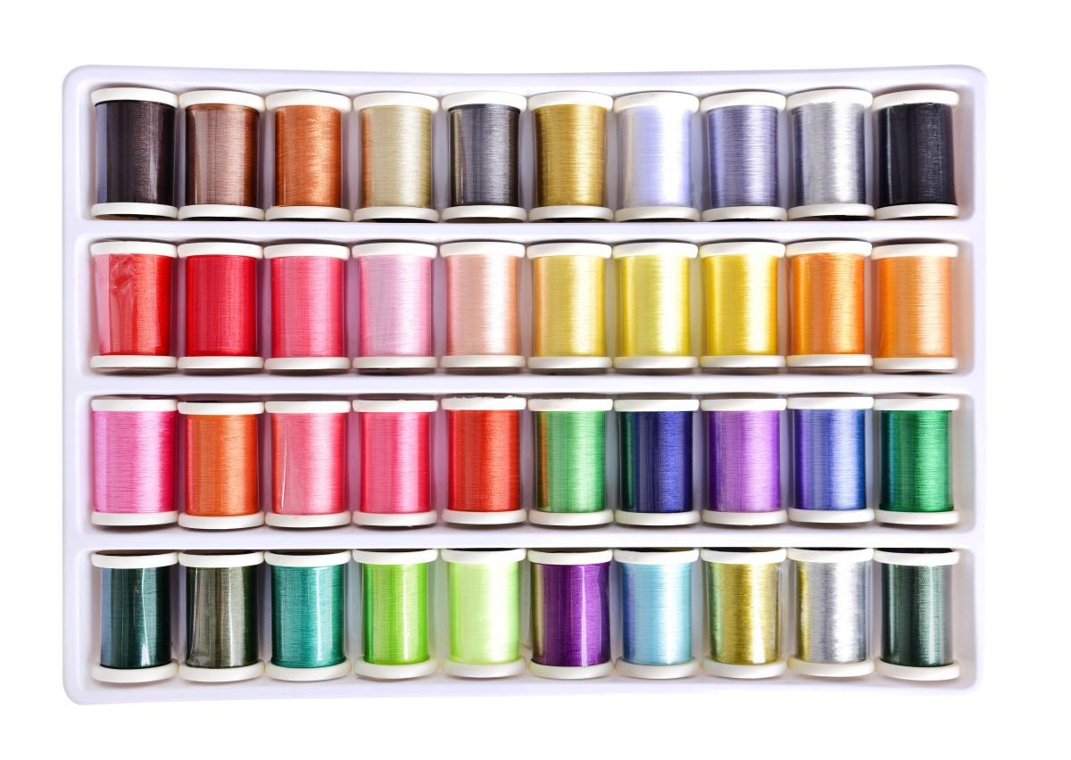 40 ks sada barevných nití pro ruční i strojové šití a vyšívání
