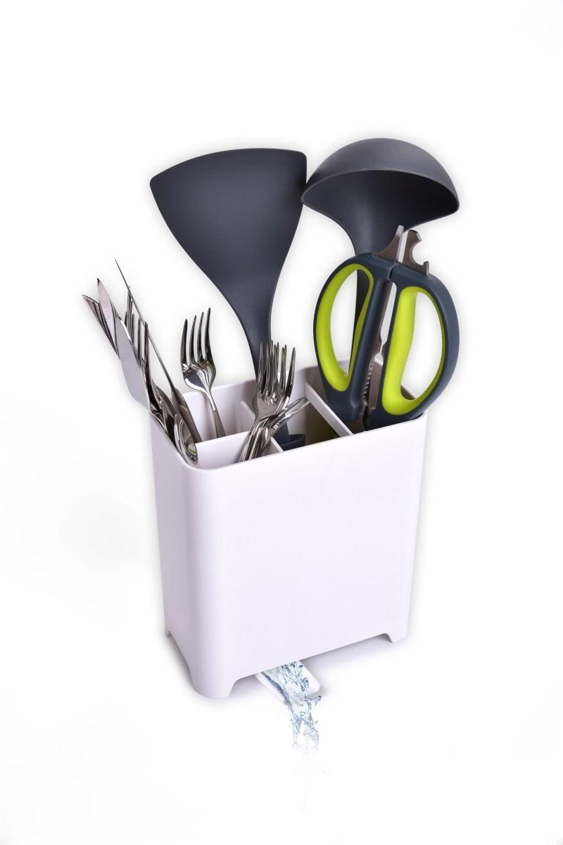 Stojan/odkapávač na kuchyňské náčiní a příbory s okapem