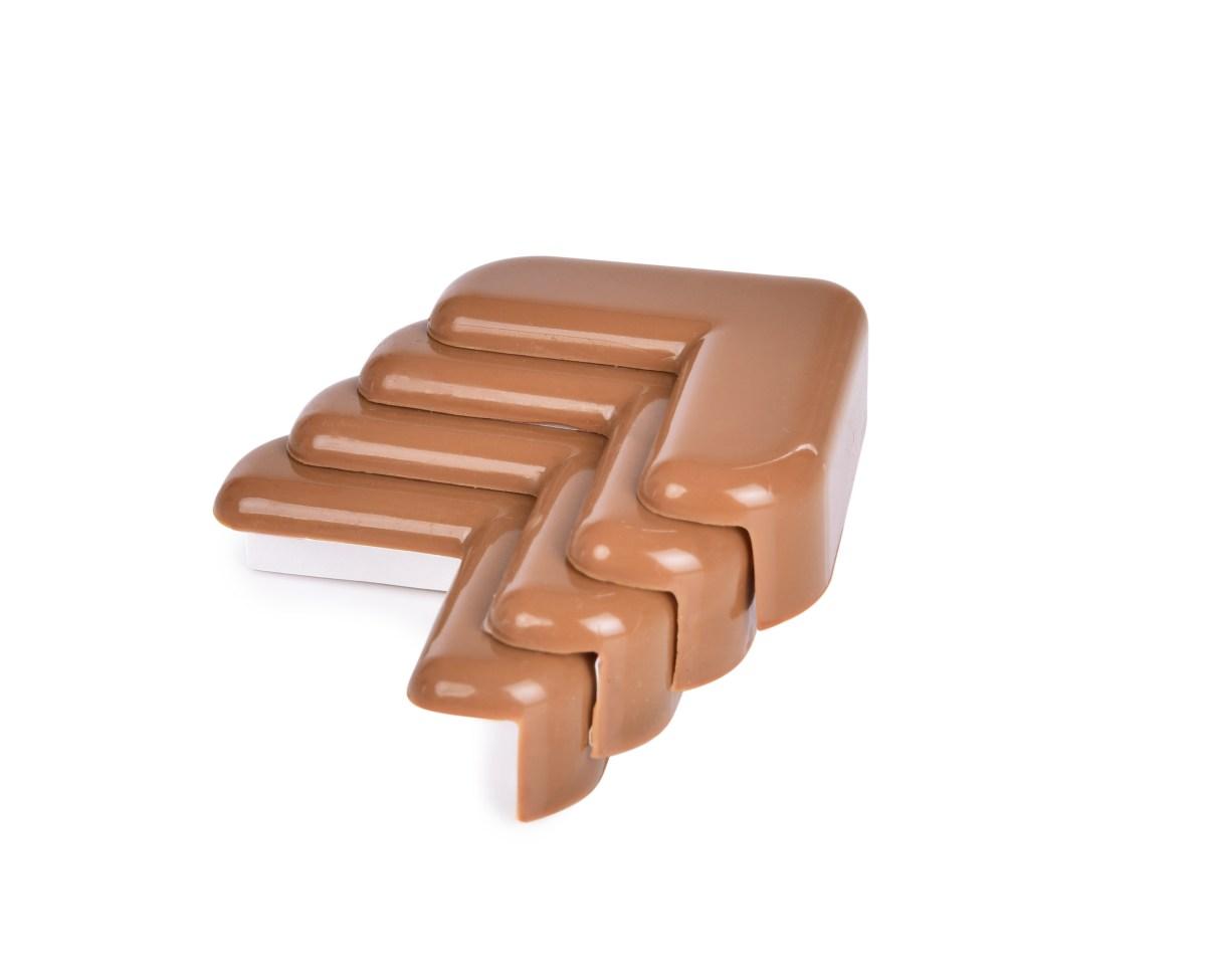 Tlmiace nárazník na rohy nábytku, samolepiaca - 4ks - hnedý