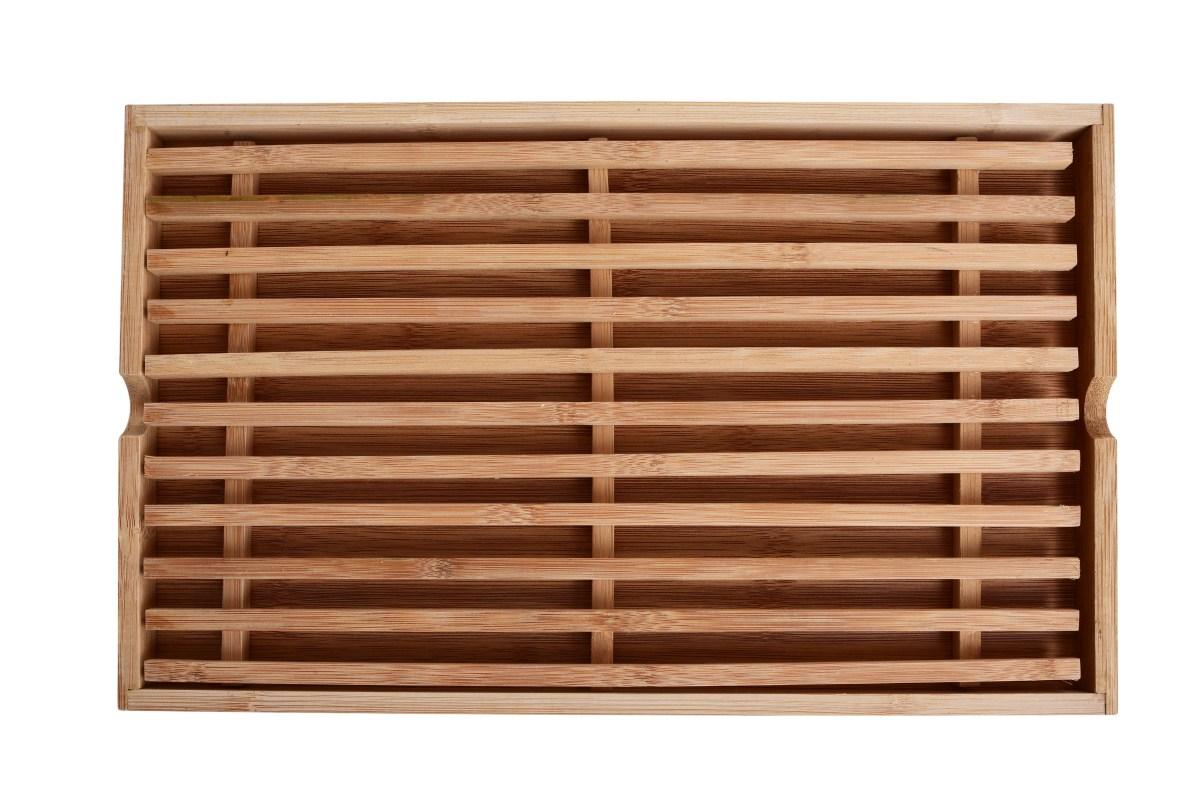Bambusové NEDROBÍCÍ prkénko s roštem na chléb a pečivo, GoEco®