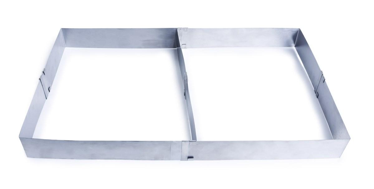 Nastavitelná obdélníková forma XXL z nerezové oceli s odnímatelnou přepážkou