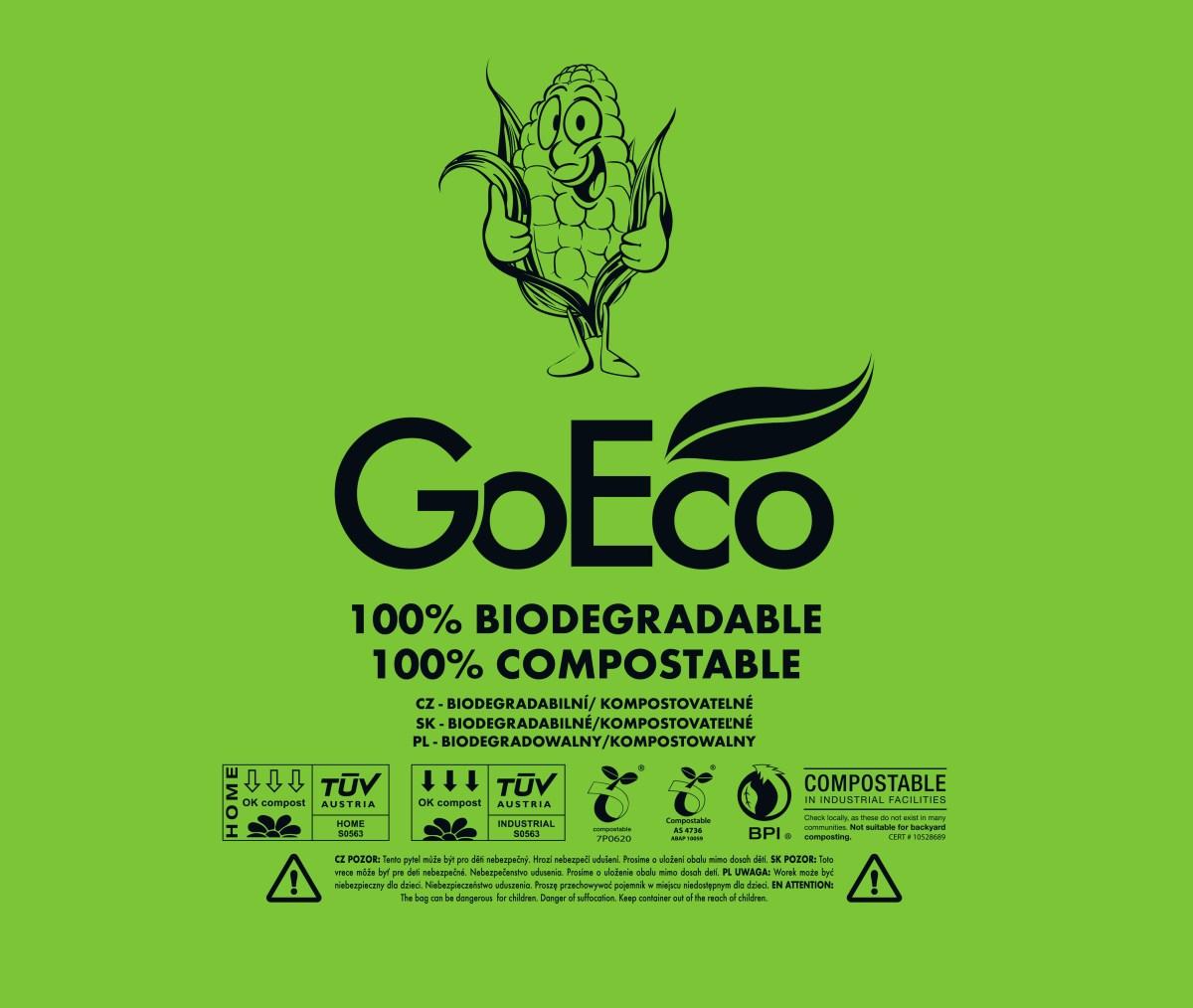 EKOSÁČOK na odpadky 5 ks, z kukurice, kompostovateľný GoEco®, objem 120 l