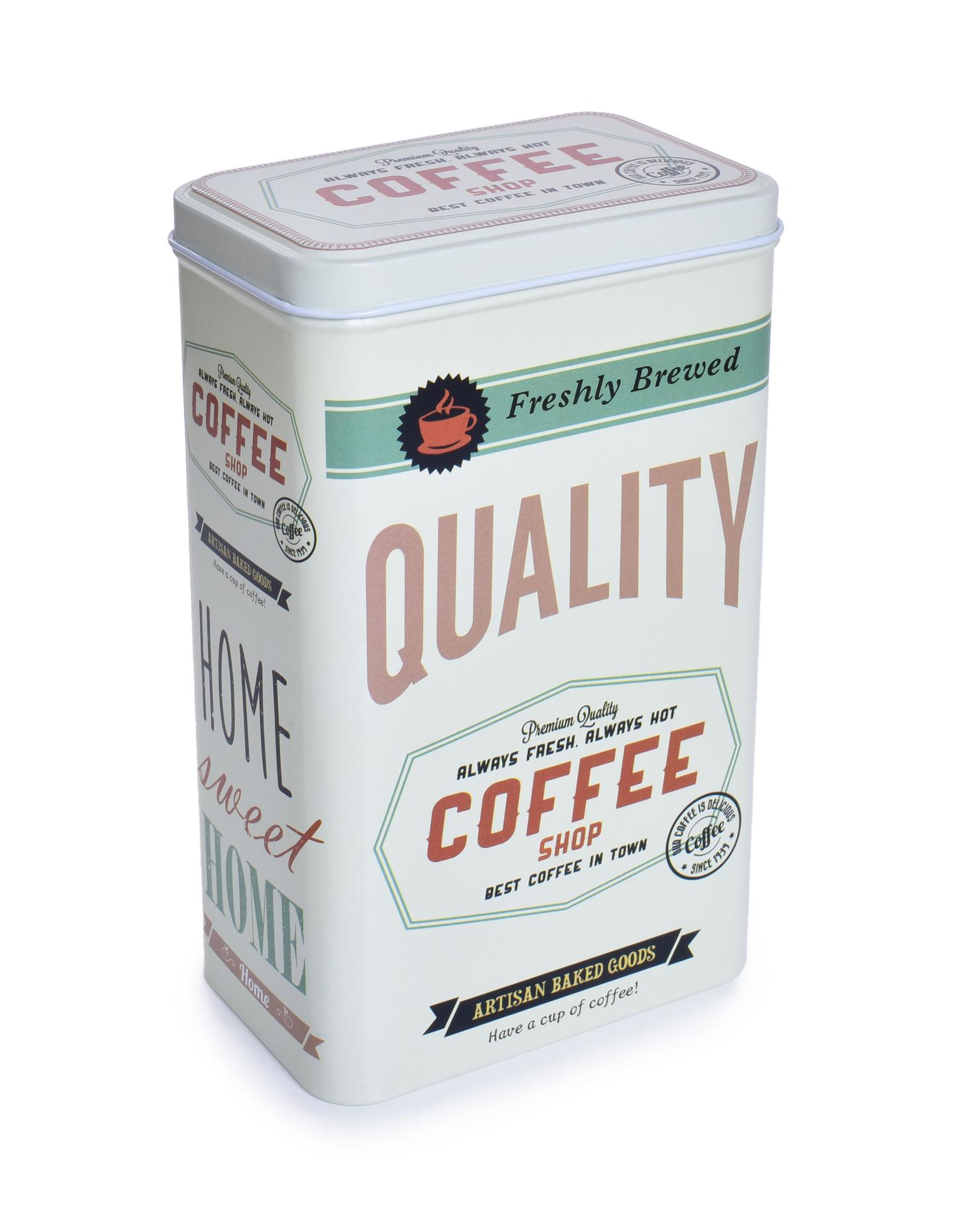 Kovová dóza QUALITY COFFEE s vekom 1400 ml
