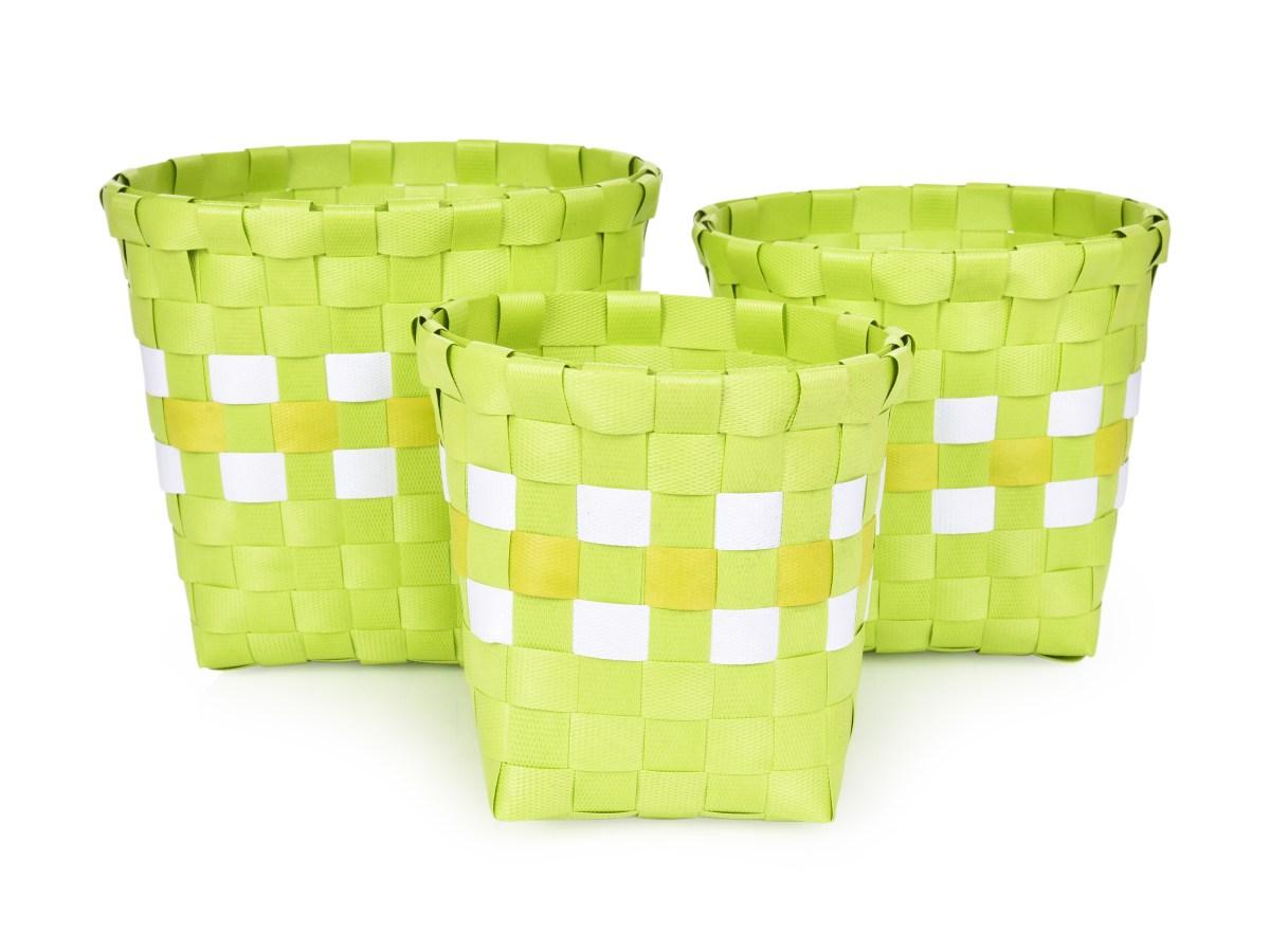 Sada 3 košíků z plastového výpletu