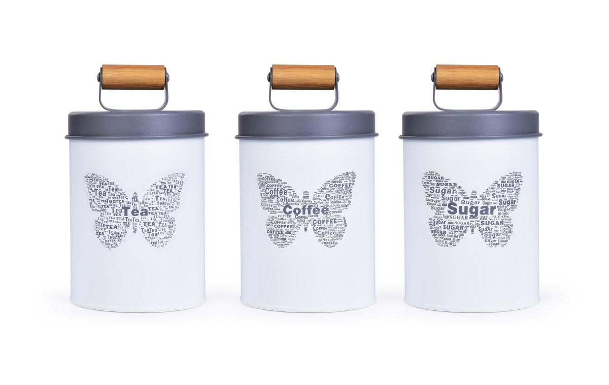 3 ks SADA kovových kulatých dóz MOTÝL Tea, Sugar, Coffee