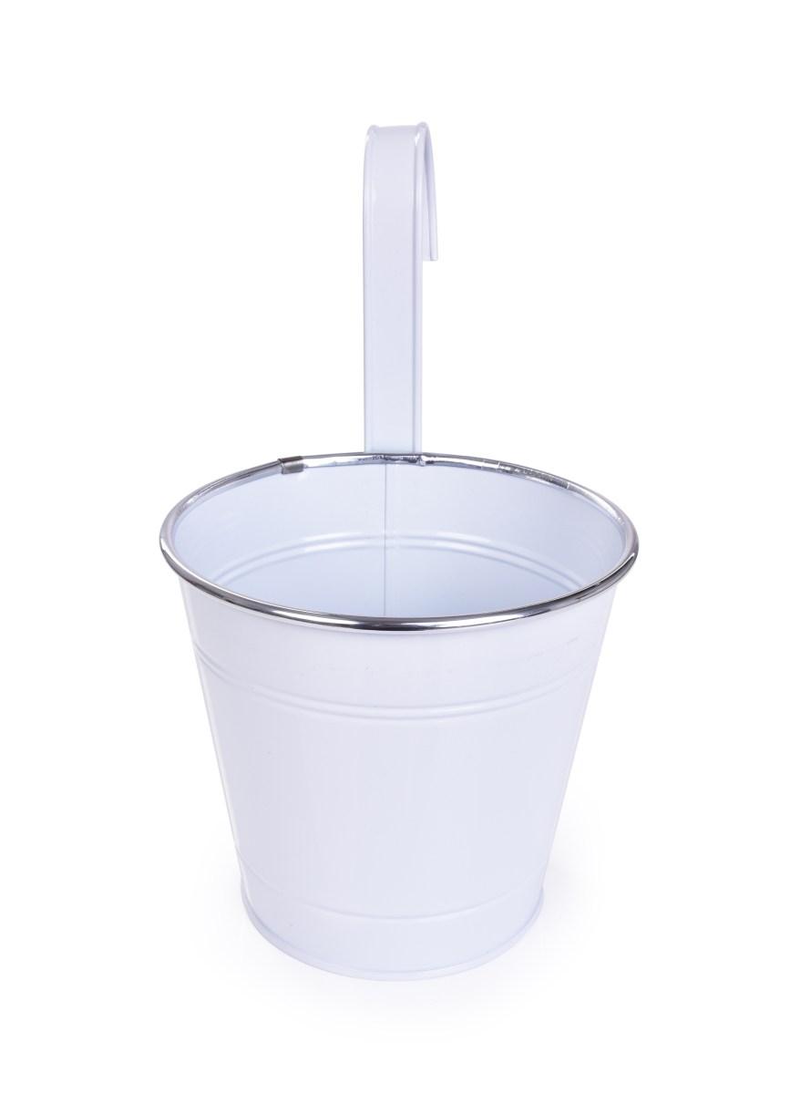 26,5 cm Dekorativní závěsný nebo stojící kovový květináč, bílý