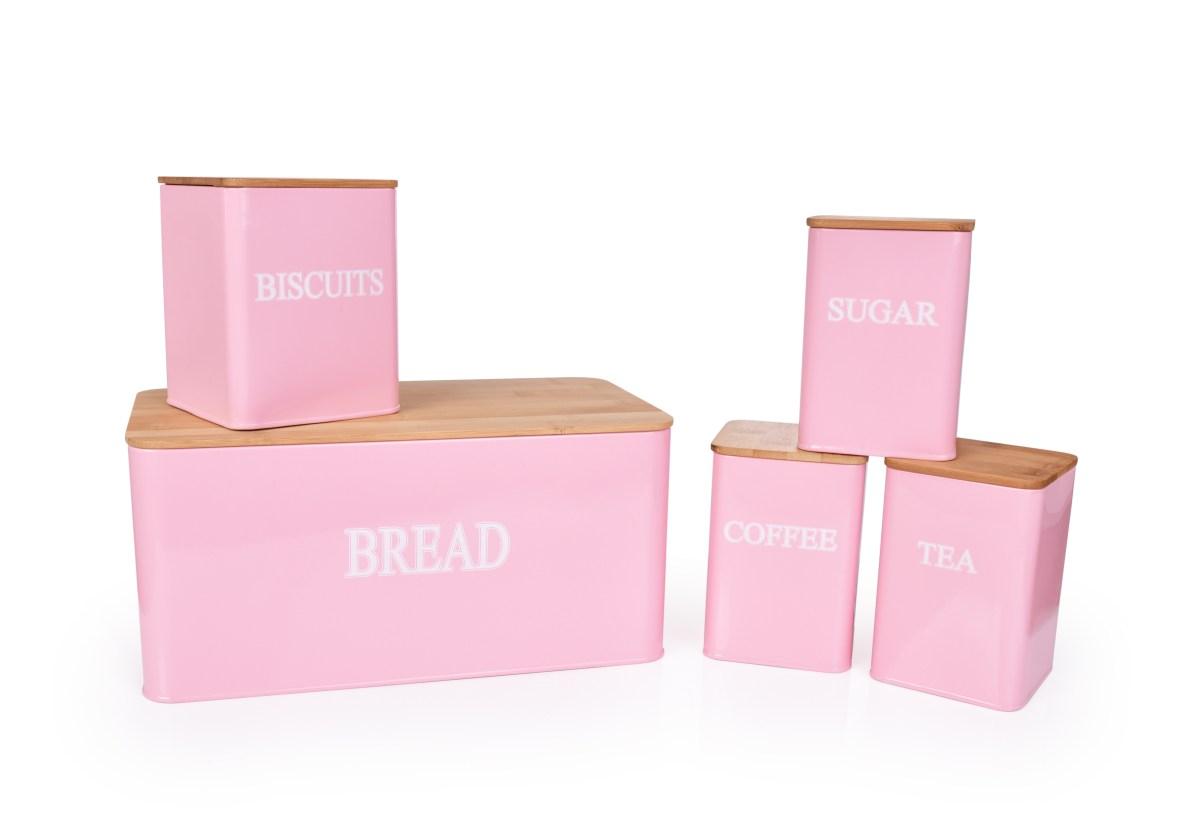5 KS SADA chlebníku a kovových dóz TEA, COFFEE, SUGAR, BISCUITS