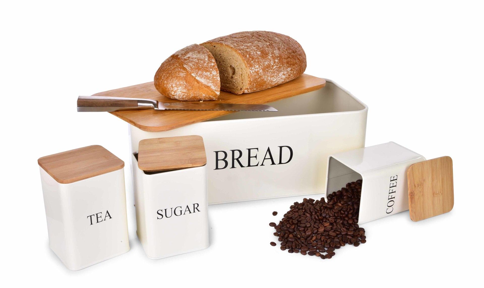 4 KS SADA chlebníku a kovových dóz TEA, COFFEE, SUGAR