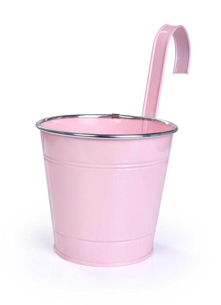 26,5 cm Dekorativní závěsný nebo stojící kovový květináč, pastelově růžový