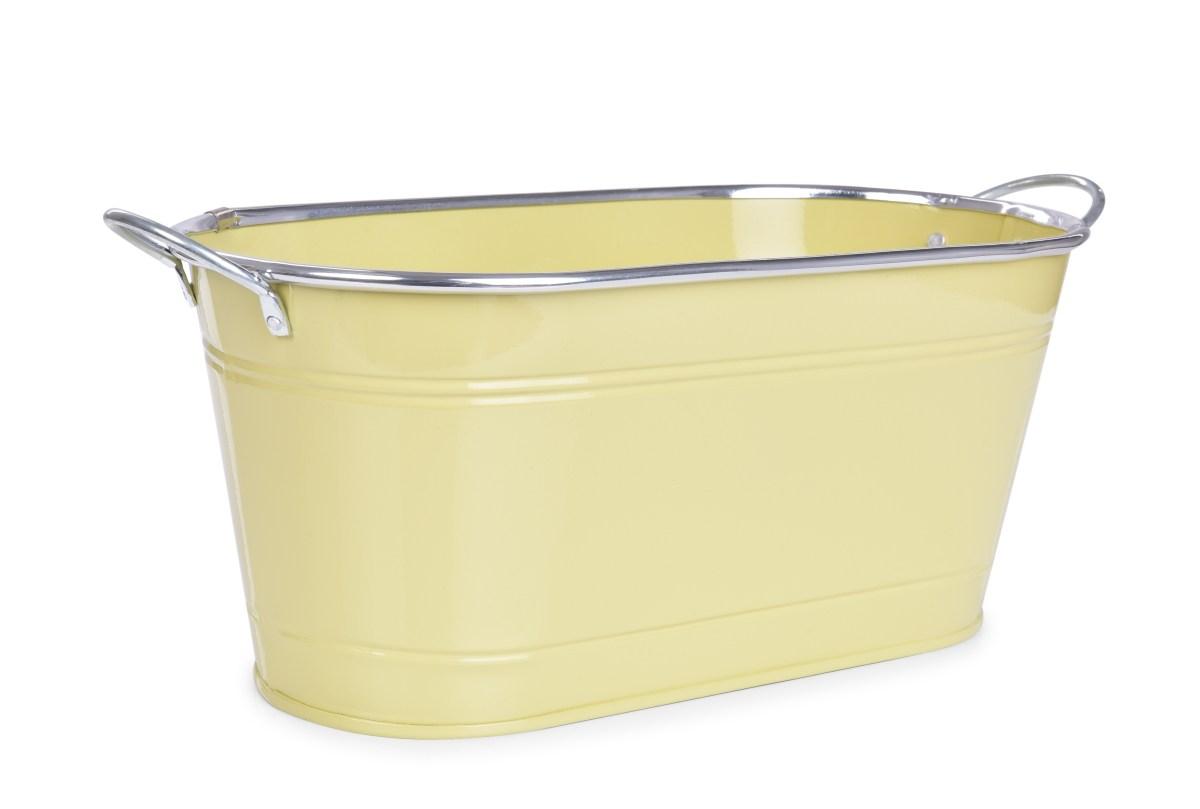 33 cm Dekorativní kovový truhlík, volně stojící, vanilkový