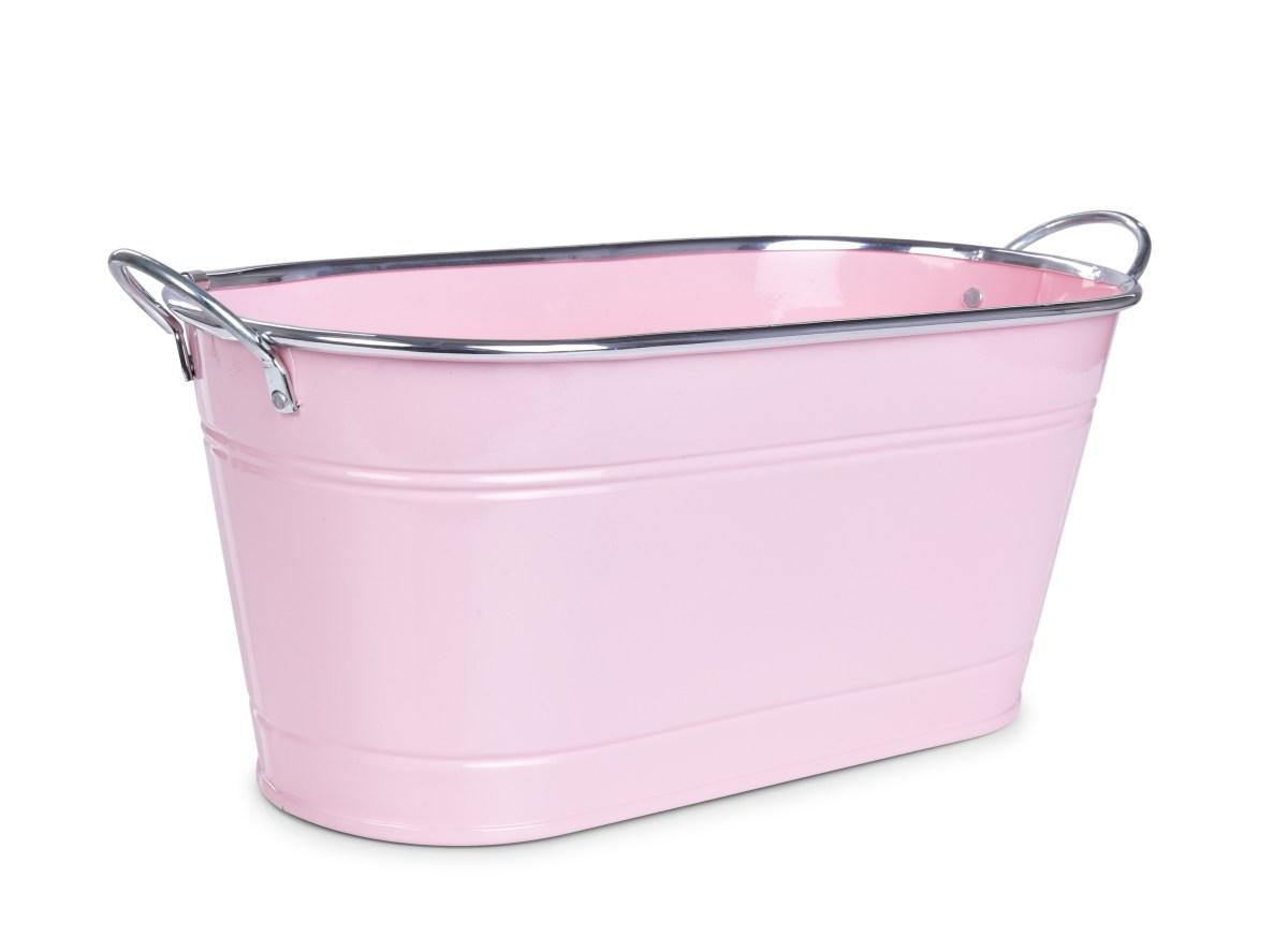 33 cm Dekorativní kovový truhlík, volně stojící, pastelově růžový