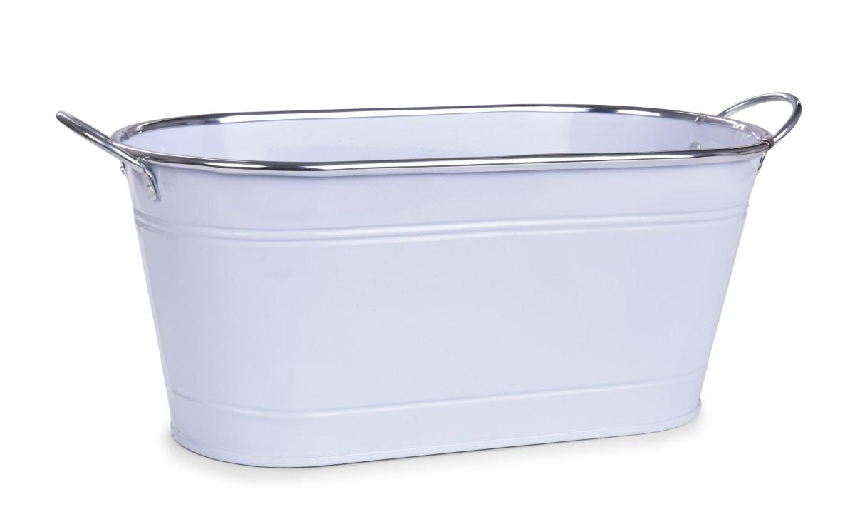 33 cm Dekorativní kovový truhlík, volně stojící, bílý