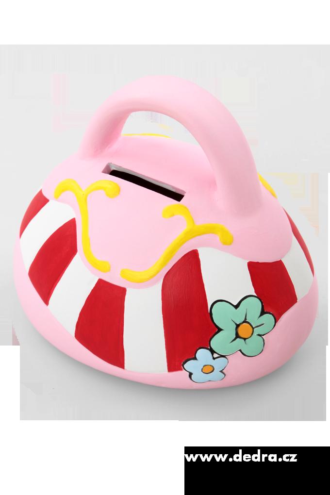 Pokladnička z keramiky - kabelka + 6 barev a štětec