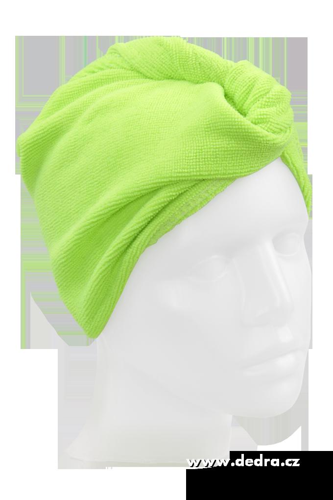 2 ks turban na vysoušení vlasů jasně zelený