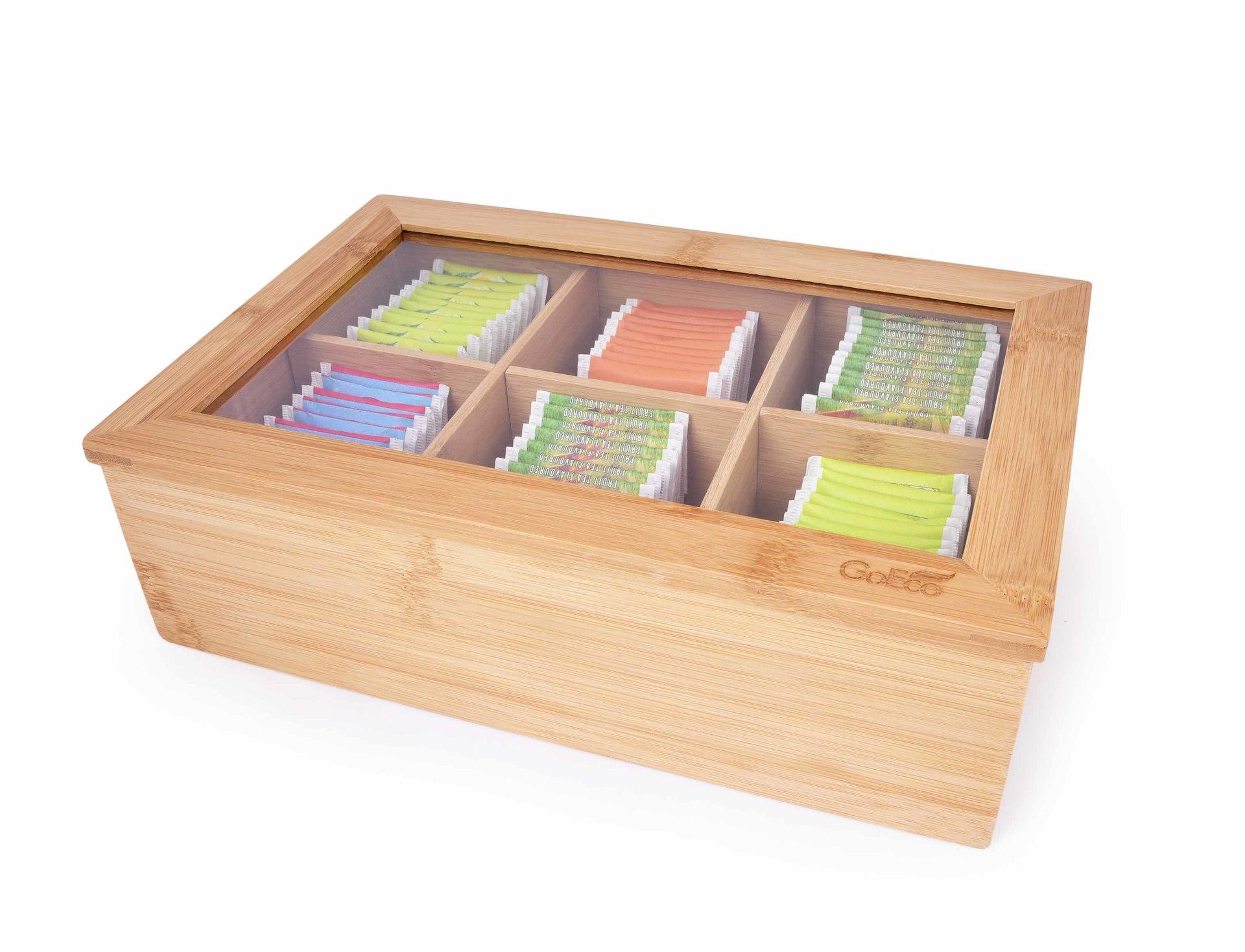 Bambusová kazeta VELKÁ ČAJOVNA na čajové sáčky GoEco®