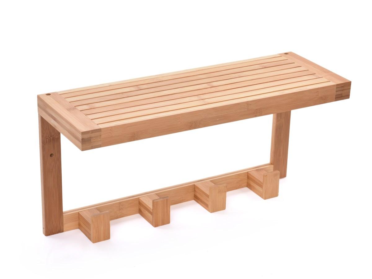 Nástěnná bambusová police s věšákem GoEco®