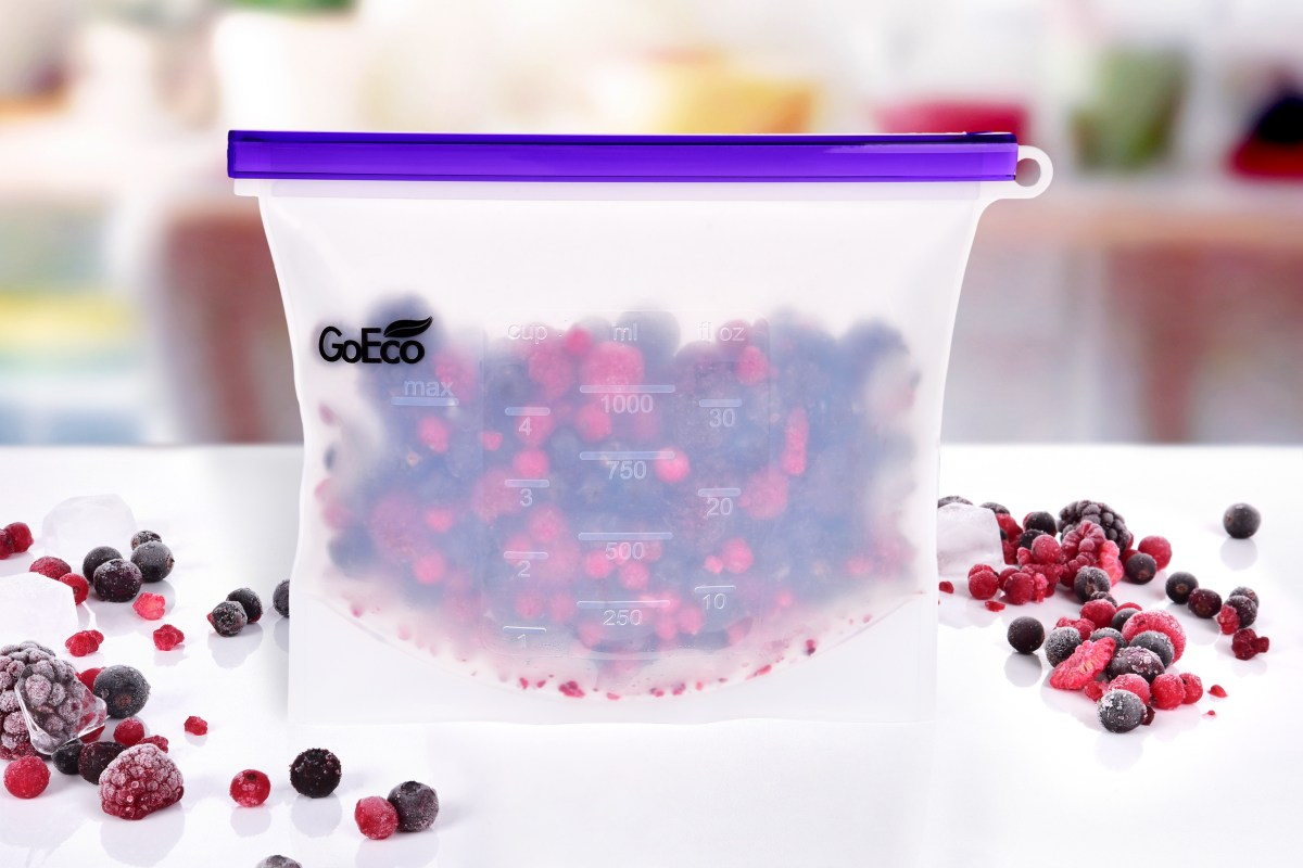 """1000 ml """"DOŽIVOTNÍ"""" SILISÁČEK® opakovatelně použitelný silikonový sáček na potraviny GoEco®"""