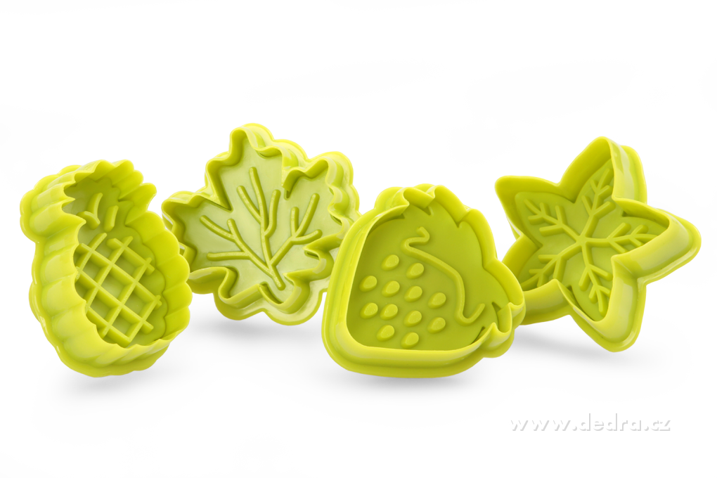 Jahoda + ananas, sada 4 ks tvořítek na marcipán a cukr. hmoty
