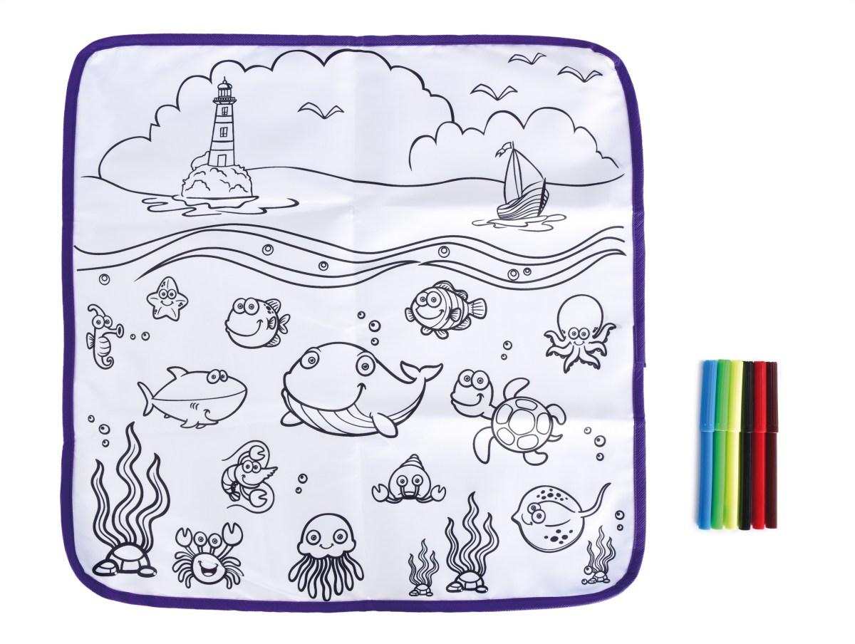 Omyvatelná kreslící podložka + 6 barevných fixů
