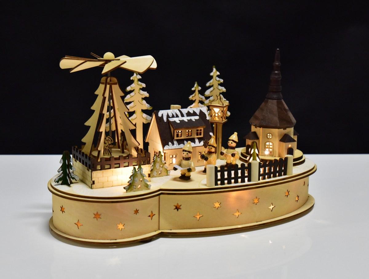35 cm Zimní vesnička s kolotočem a LED osvětlením
