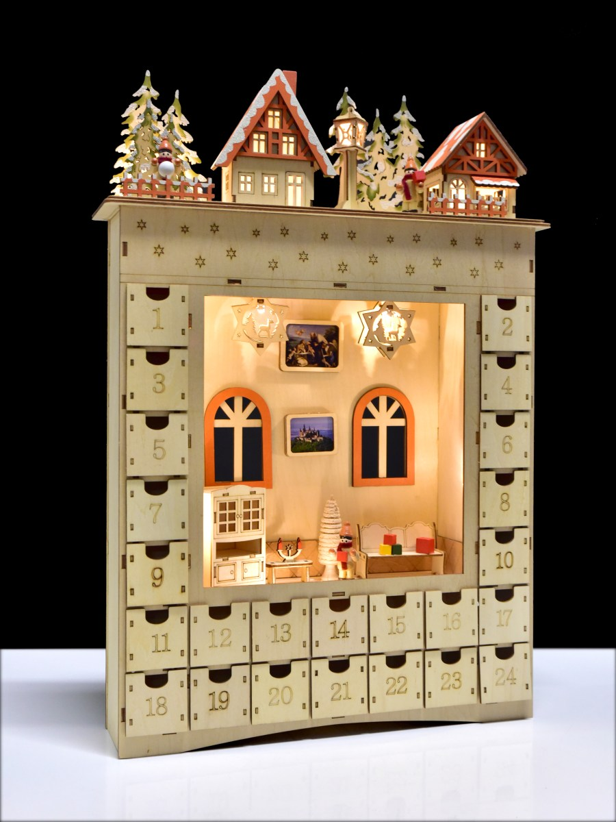 52 cm Velký adventní dřevěný kalendář s LED osvětlením