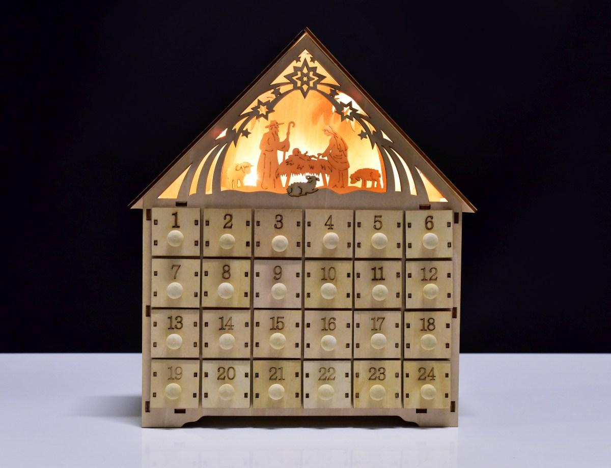 30 cm Adventní kalendář dřevěný s LED osvětlením