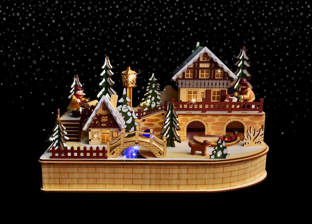 35 cm Zimní městečko s jezdícím vláčkem, LED osvětlením a LED řekou