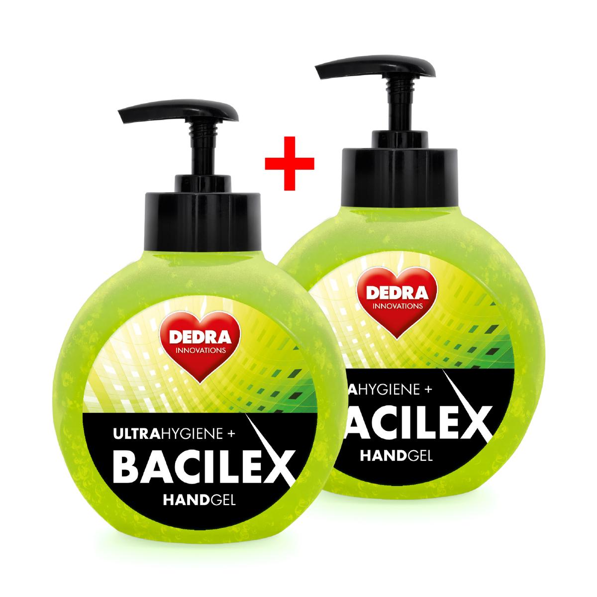 Čisticí gel na ruce 1+1, 65 % alkoholu, ovocná vůně, 500ml + 500ml, BACILEX® ultraHYGIENE+