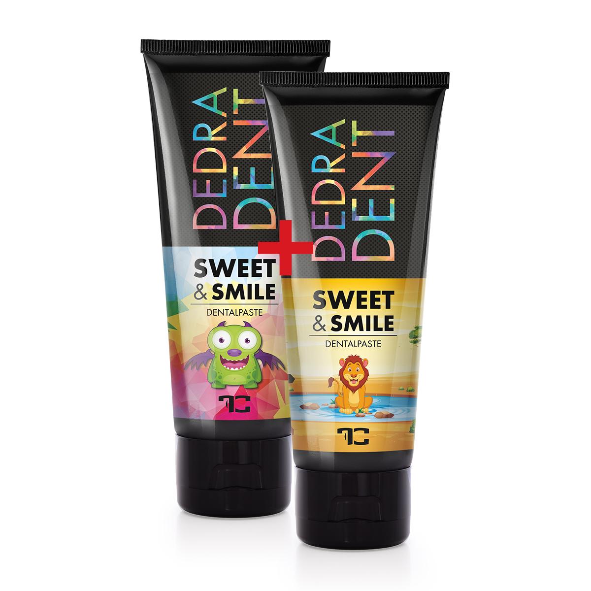SADA 1 + 1 prírodná detská zubná pasta SWEET & SMILE pre ochranu mliečnych zubov, so žuvačkovou príchuťou, DEDRA DENT, 2x 50 ml