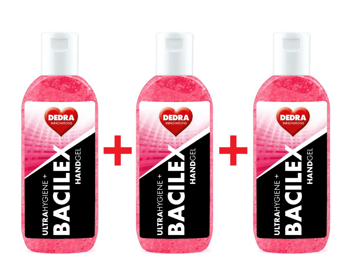 SADA 2+1 ZDARMA čisticí gel na ruce, 65 % alkoholu, handGEL BACILEX ultraHYGIENE+