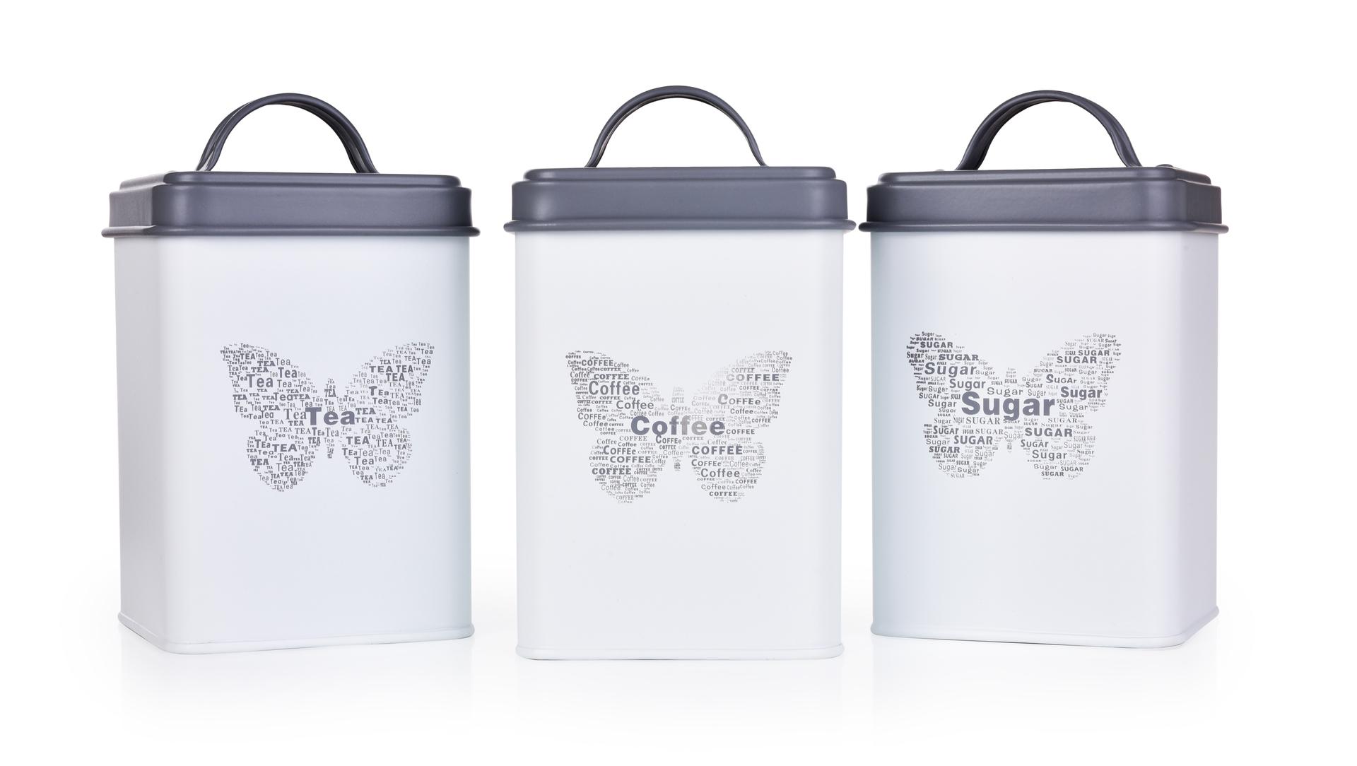 3 ks SADA kovových hranatých dóz MOTÝL Tea, Sugar, Coffee