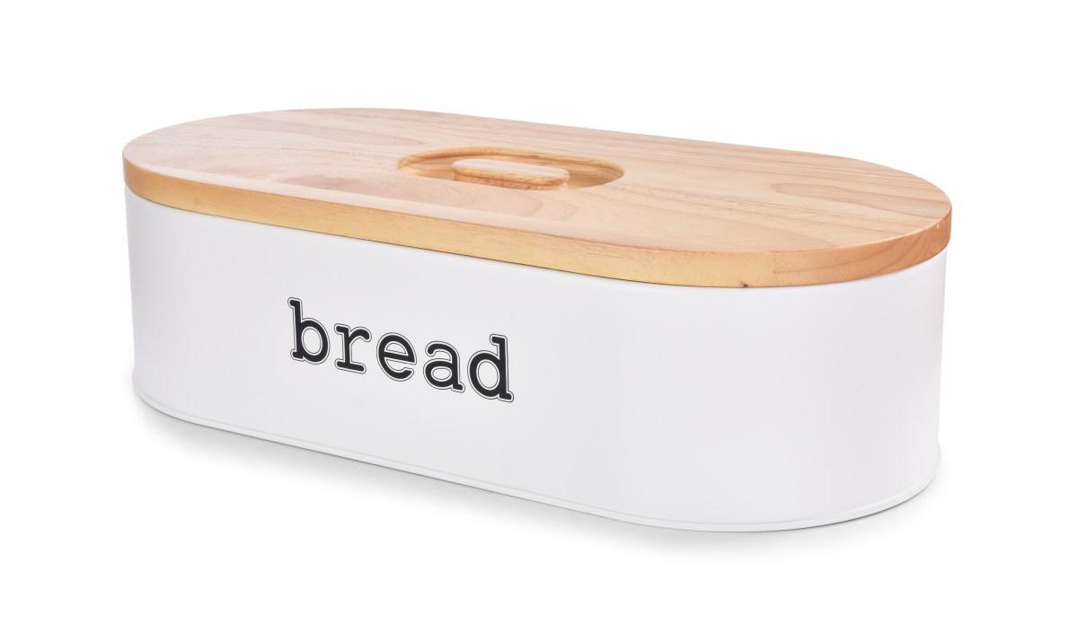 Chlebník BREAD, kovový s krájecím víkem z masivního dřeva
