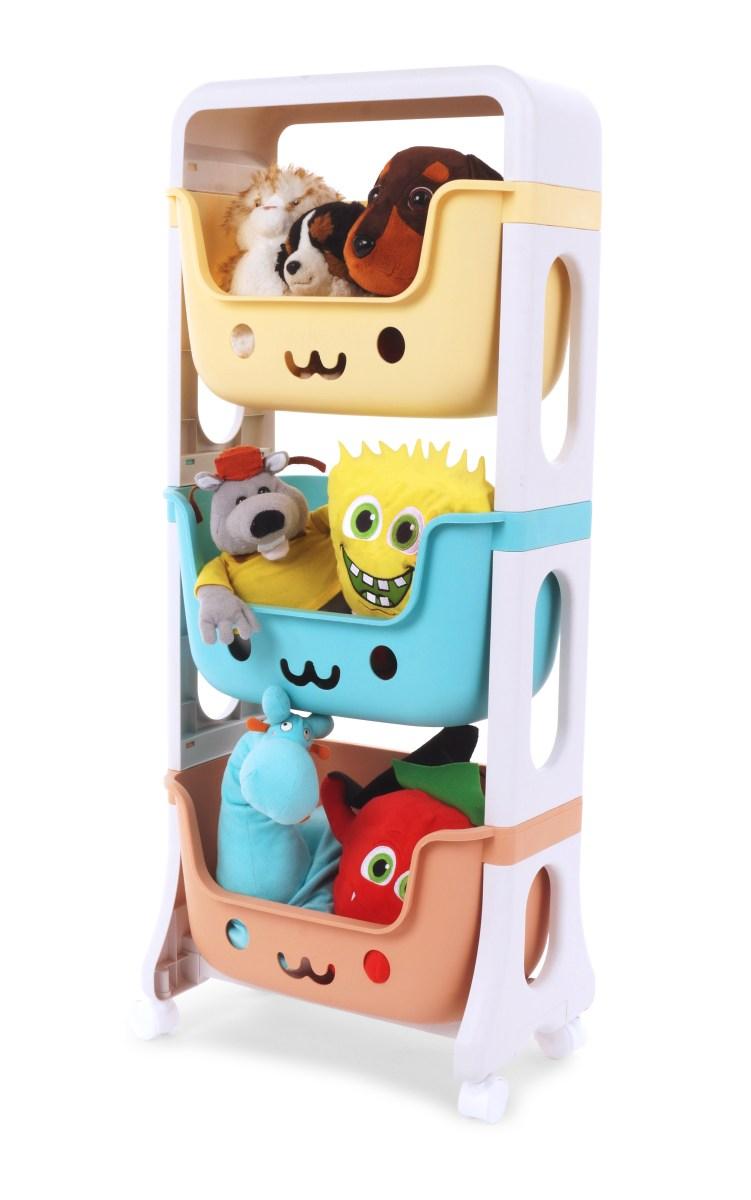 TRIO REGAL třípatrový regál, se 3 hlubokými barevnými boxy