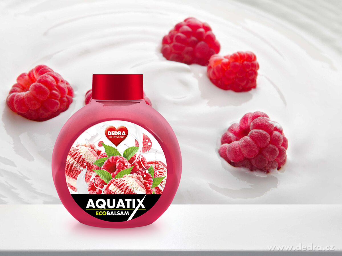 EKO koncentrát na ruční mytí nádobí, ECOBALSAM AQUATIX®, maliny se smetanou, bez pumpičky