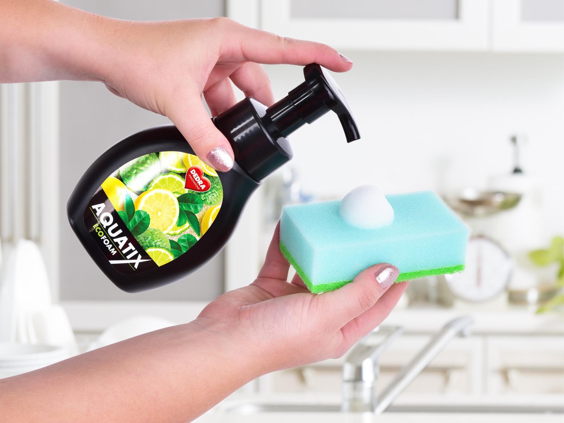 Aktivní EKO pěna na ruční mytí nádobí AQUATIX bergamot & lemon