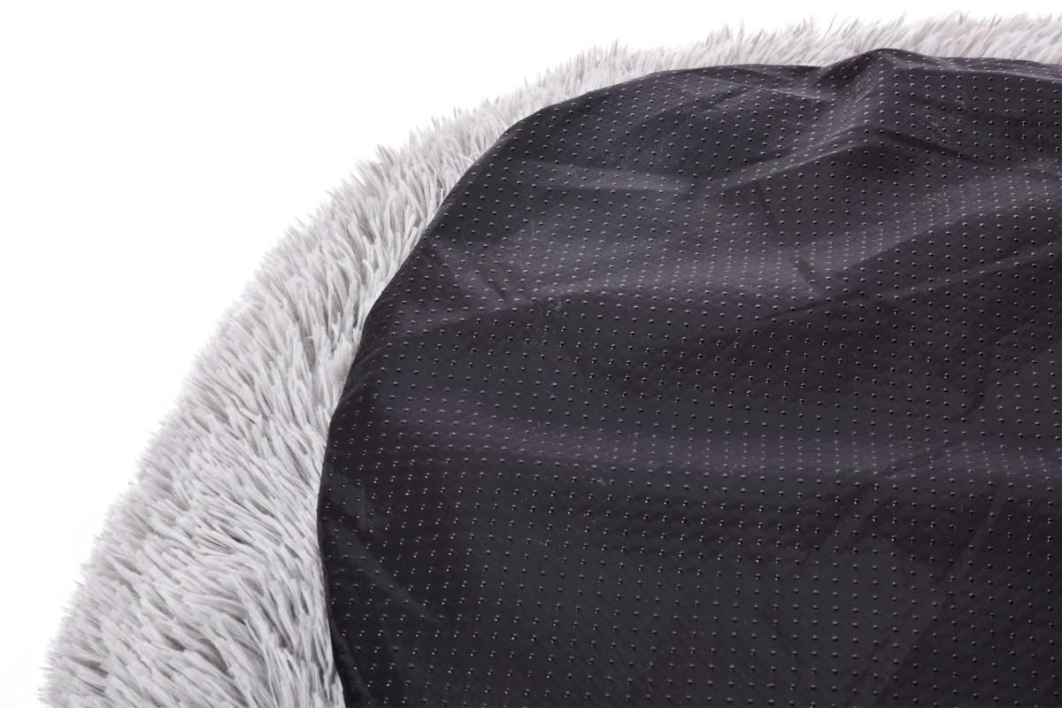 Polstrovaný pelech z jemného LAGOON VELVET materiálu, priemer 80 cm, šedý