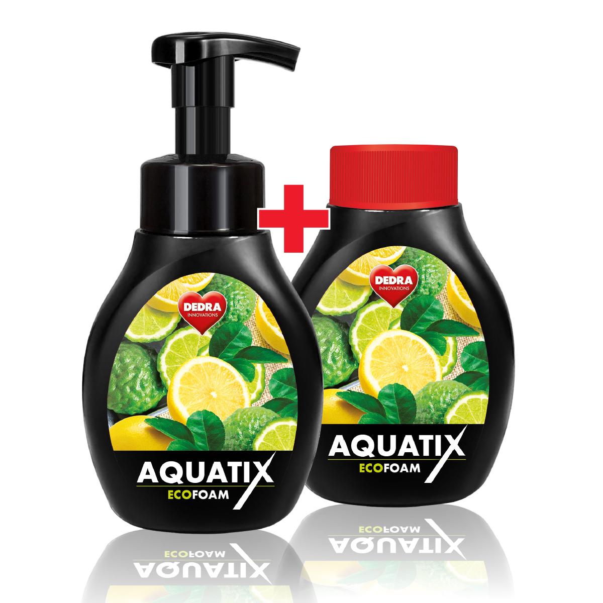 SADA 1+1 Aktivní pěna na ruční mytí nádobí AQUATIX EcoFoam bergamot & lemon
