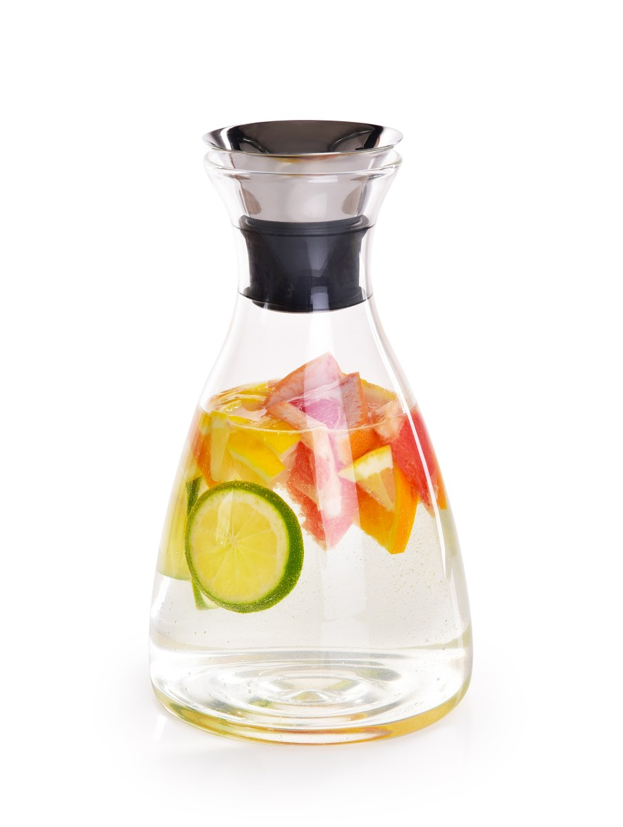 1,7 L skleněná karafa z borosilikátového skla s nerezovou nalévací zátkou