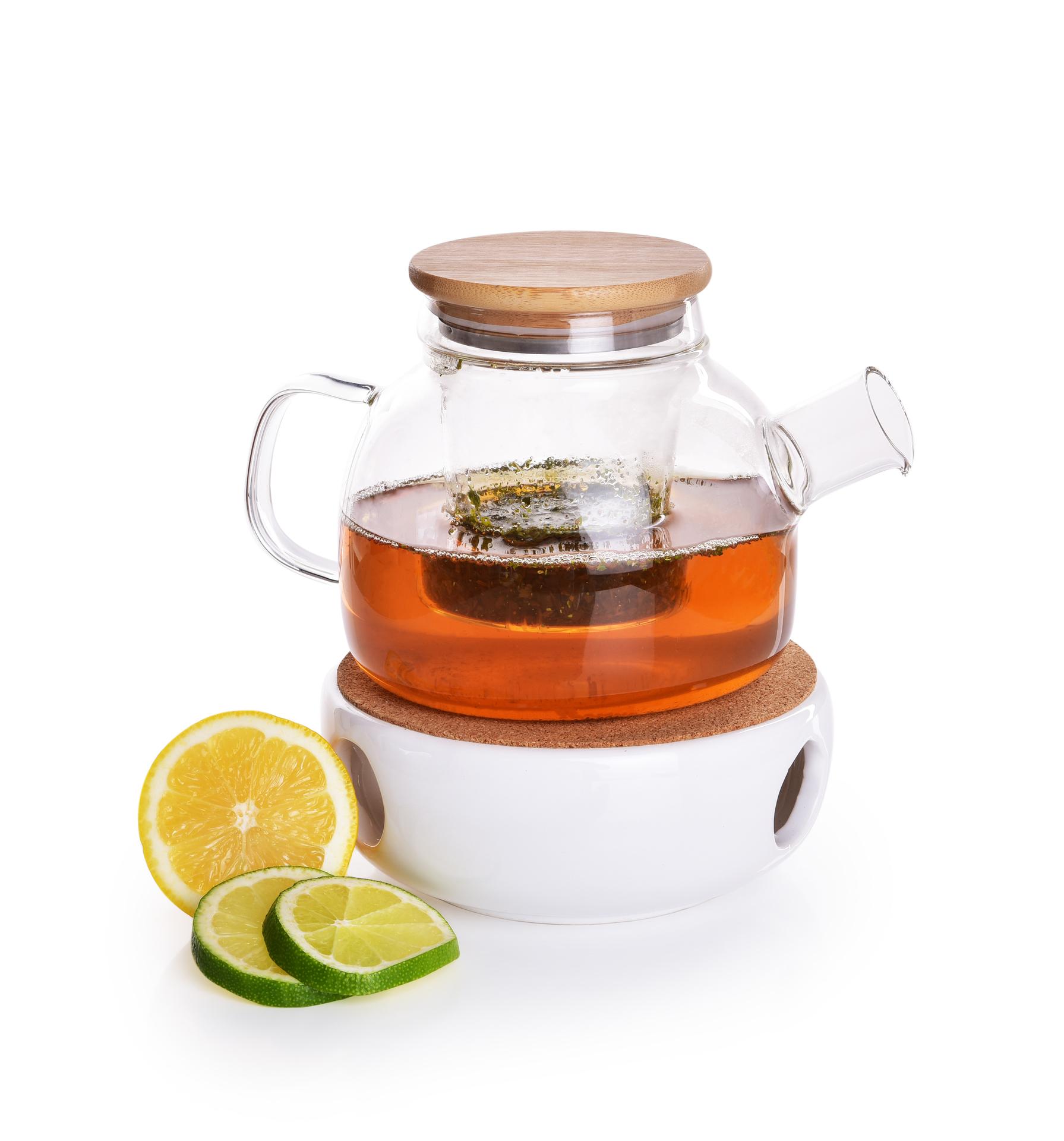 750 ml 3v1 skleněná čajová konvice + keramický ohřívač, BOROSIL GLASS