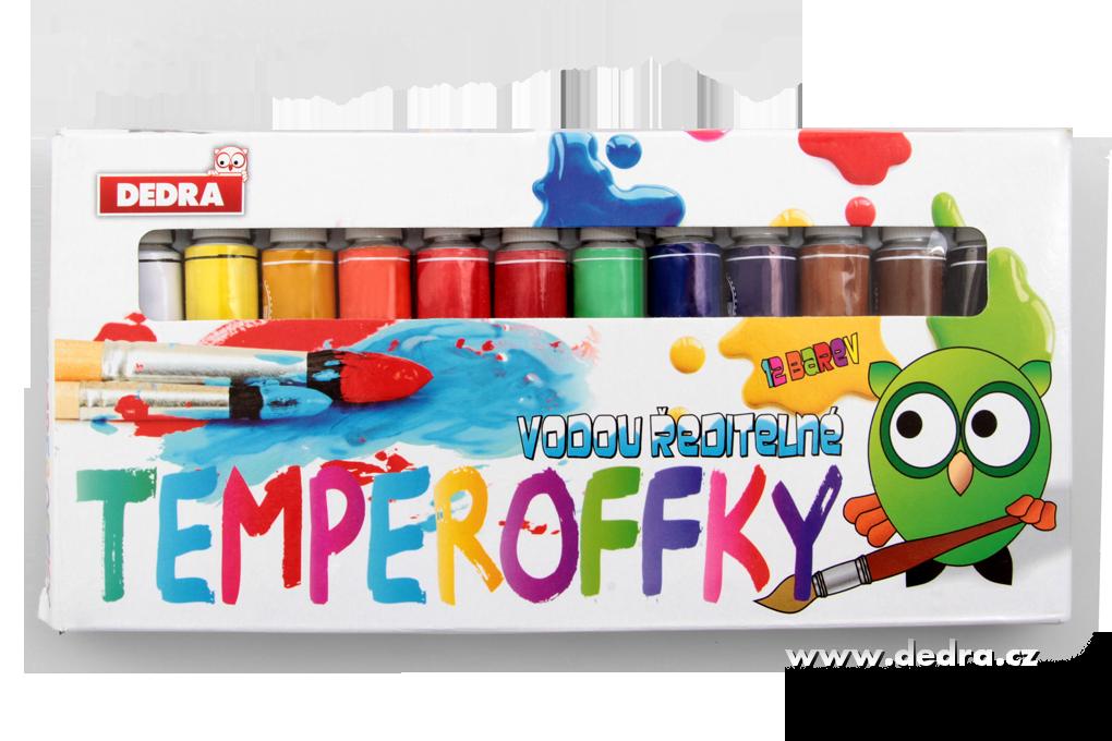 12 barev TEMPEROFFKY, vodou ředitelné barvy